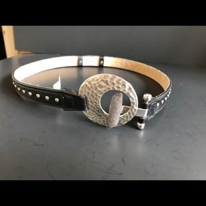 NWT Leather Studded Belt with hammered buckle